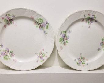 Round Serving Platters - Pair of European Platters - Vintage European China