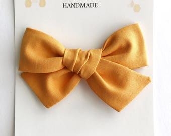 Butterscotch Mustard Bow - Tied Bow Clip - Fall Bow - Big Mustard Bow - Oversized Tied School Girl Bow - Fabric Bow -Butterscotch Baby Bows