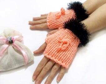Fingerless Gloves, Hand knit fingerless gloves, Salmon, Black, Handmade mittens, Crochet  Boho knit glove mittens, Knit gloves mittens