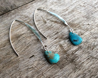 Turquoise earrings,Natural turquoise earring, Fashion earrings, Women earrings,Bohemian earrings,Freeform turquiose stones, Wishbone hooks.
