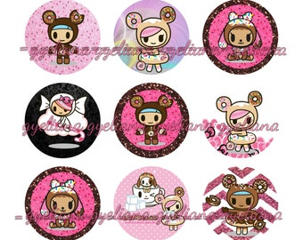 """1"""" Cute Donut Characters Bottlecap images 4x6"""