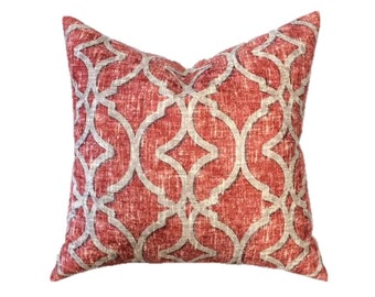 "Trellis Pillow- Red Orange and Taupe Gray Geometric Designer Pillow Cover- Lattice Pillow- Accent Pillow- Throw Pillow-  Holds 22"" Insert"