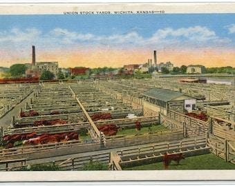 Union Stock Yards Wichita Kansas 1951 linen postcard