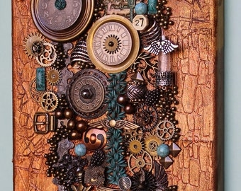 Original Steampunk Collage - Found Objects Art - Assemblage Clock Collage - 3D Canvas - Steampunk Art - 3D Wall Art - Steampunk Mixed Media