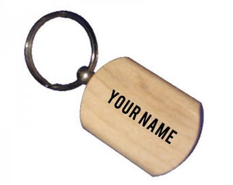 Personalised wooden keychain.