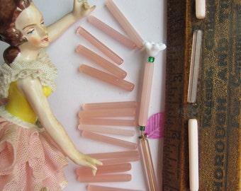Vintage Satin Pink Bugle Fringe Tube Beads