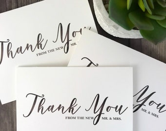 Thank You From the New Mr. and Mrs. , Thank you Wedding Card, Wedding Day Cards, Sentiment Cards,  Thank You From the Newlyweds, Newlyweds,