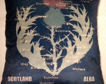 Scottish Thistle map cushion cover
