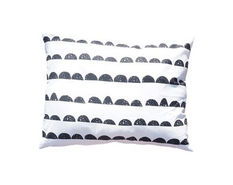 Throw Cushion Pillow cover Half Moon Cotton Fabric Dusty black and white Pillow  100% Cotton Home decor Scandinavian design