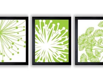 Lime Green White Flower Print Flowers Dandelion Set of 3 Art Prints Wall Decor Bathroom Modern Minimalist