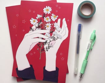 SALE / Chamomile Flowers A5 Notebook - Dot Grid Paper