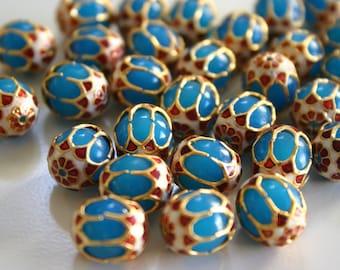 SALE Teal Blue Beads - Meenakari beads (2) 12mmx13mm