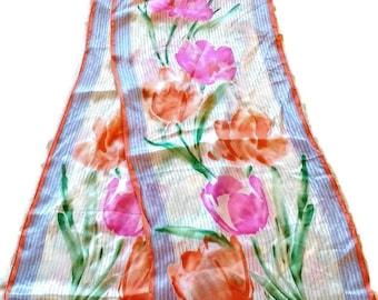 Vintage Vera Neumann SIlk Scarf Tulip Floral Print Pastels Made in Japan Green Purple Orange Summer Colors