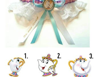 Beauty and the Beast Chip/Mrs Potts Satin/Satin and Lace/Garter Set- Your choice of embellishment and wording