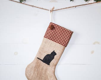 Handmade Burlap Christmas pet Stocking with red checked cuff & black cat Christmas Stocking