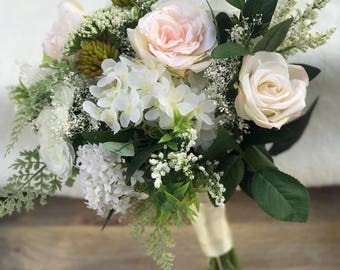 Silk bridal bouquet, artificial bridal flowers , peach garden roses, white roses, babies breath , ranunculas, hydrangeas , wedding flowers
