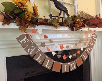 Fall In Love Wedding Banner Fall Bridal Shower Decoration Bridal Shower Banner Fall Garland Fall Decoration CUSTOM colors Fall Wedding