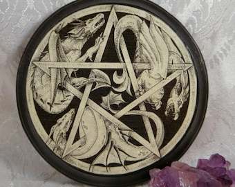 Wooden Dragon Pentacle Altar Tile / Dragon Pentacle Wall Plaque / Pagan Wiccan Pentacle Altar Paten / Three Dragon Pen and Ink Wall Art