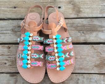 Boho Sandals, Leather Gladiators, Greek Sandals, Boho sandals, Friendship Bracelet Sandals, Handmade Sandals, Women Sandals, Gladiator
