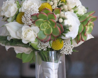 Bridal Succulent and Flowers Wedding Bouquet with yellow accent