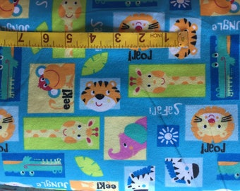Cotton Flannel BTY - Zoo Jungle Safari Animals Tigers Lions Giraffes Zebras Elephants Alligators - for Quilting Sewing Crafts