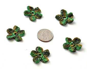 Crochet Applique Mini Flower Motif Flower Embellishment Crochet Flower Applique Olive Moss Avocado Green Crochet Motif Crochet Flower Motif