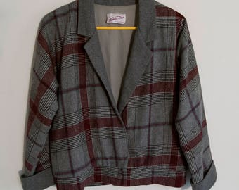 80s Cropped Plaid Wool Blend Blazer with Dolman Sleeves