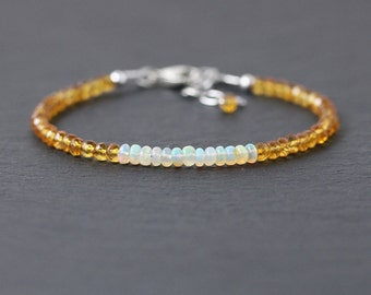 Ethiopian Welo Opal & Citrine Dainty Bracelet in Sterling Silver, Rose or Gold Filled. Beaded Gemstone Stacking Bracelet. Delicate Jewelry