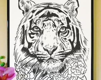 Tiger and Carnation Art Print