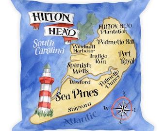 Hilton Head Pillow - Custom Hilton Head Island Artwork In Watercolor - Hilton Head Decor - Beach Pillows & Coastal Pillows