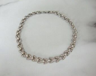 Vintage Rhinestone Choker. 1940s Rhinestone Jewelry. Fine Rhinestone Crystal Wedding Jewelry. Vintage Jewellery