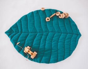 Handmade linen leaf playmat Nursery rug Baby play mat linen mat for baby, Washed linen mat, Baby birthday gift Padded mat Nursery mat Gift