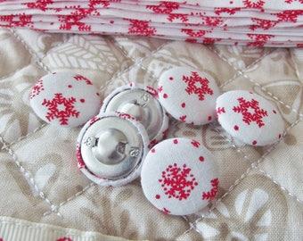 Christmas Snowflake Bias Binding and 6 Matching Buttons