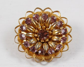 Vintage Gold Tone and Lavender Stone Brooch