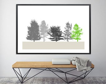 Botanical art green Extra large Wall Art  Giclee Print up to 40X60, huge wall decor, nature prints, minimalist poster, black and white