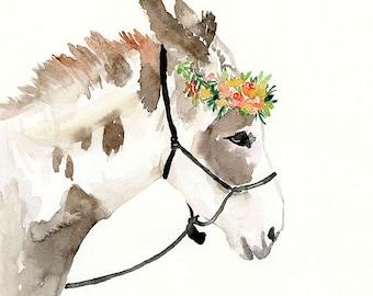 Farmhouse Animal Art, original watercolor painting, watercolor horse, horse painting, animal art, animal painting, farm animal, baby nursery