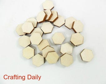 Wood Hexagon Stud Earring Blanks 12mm Laser Cut Wood Shapes Jewelry Making Shapes - 25 Pieces