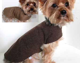 Dog Jacket , XXS XS S M L Reversible Khaki and Brown with Dots, dogs shirt wrap, Ready to Ship, fashion dog clothes