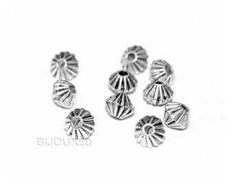 50 beads spacer bicone 4mm bicone silver streak aged Lot M01034
