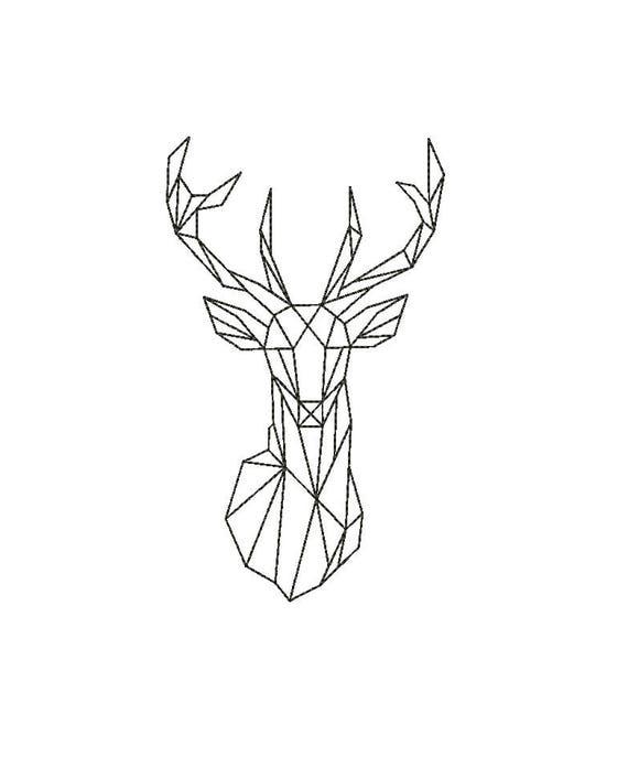 Buck Deer Head Geometric EMBROIDERY