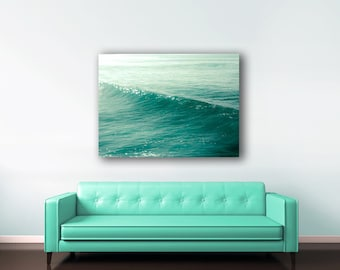 Blue Ocean Canvas, Teal Wall Art, Blue Beach Decor, Large Wall Art Canvas, Waves, Cyan, Turquoise, Tropical Decor