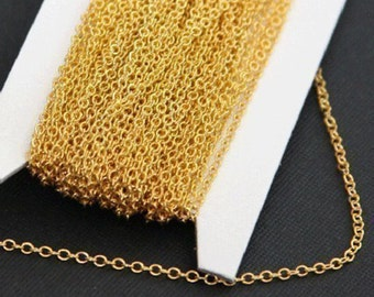 100 ft of Gold plated Brass round cable chain 2X2.5mm, gold chain, gold plated brass chain, gold bulk chain, bulk small cable chain