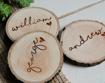 Rustic Wedding Name Place Settings, Wedding Name Place Settings, Woodland Wedding, Rustic Wedding, Wedding Favour, Wedding Table Decoration,