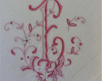 Vintage 1940's Pink Monogrammed E Hankie Hanky | Vintage Mono E Handkerchief | Embroidered Pink Hanky Hankie | Gift for Her