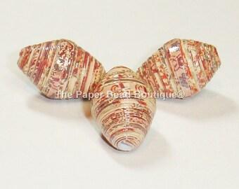 Paper Beads, Focal Handmade Jewelry Supplies Craft Supplies  Set of 3 Paisley Fall