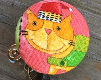 Name badge fabric covered badge reels tabby kitty design nurse name badge whimsical