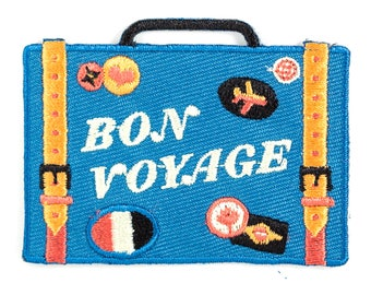 Bon Voyage Suitcase Embroidered Iron-On Patch