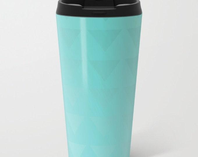 Cyan Travel Mug Metal - Coffee Travel Mug -  Hot or Cold - 15oz Mug - Stainless Steel - Made to Order