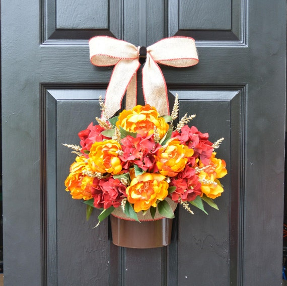 Fall Peony Hydrangea Door Bucket, Fall Wreath Alternative, Fall Decor for Front Door, Autumn Decoration, Fall Colors, READY TO SHIP 22 inch