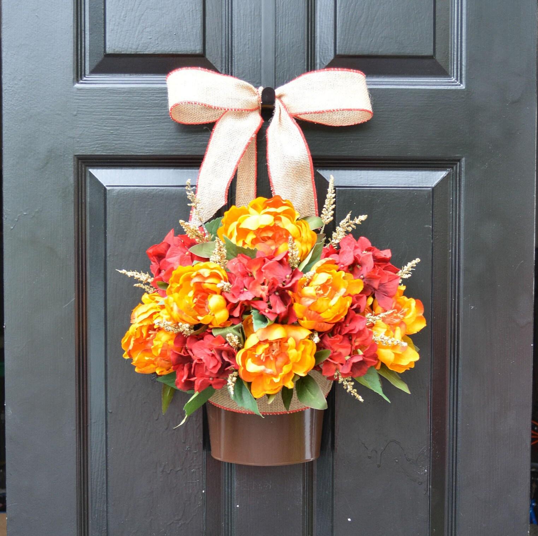 Fall Peony Hydrangea Door Bucket Fall Wreath Alternative Fall Decor for Front Door Autumn Decoration Fall Colors READY TO SHIP 22 inch & Fall Peony Hydrangea Door Bucket Fall Wreath Alternative Fall ...